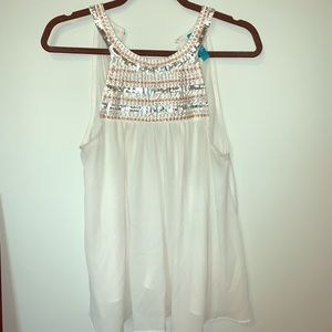 White Tank top with beading